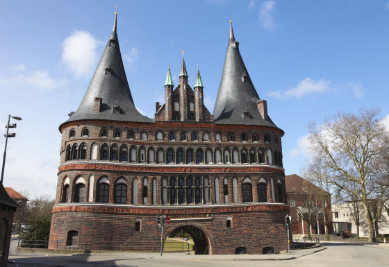 The Holsten Gate (Holstein Tor, later Holstentor) is a city gate marking off the western boundary of the old center of the Hanseatic city of Lubeck, Schleswig-Holstein, Germany.